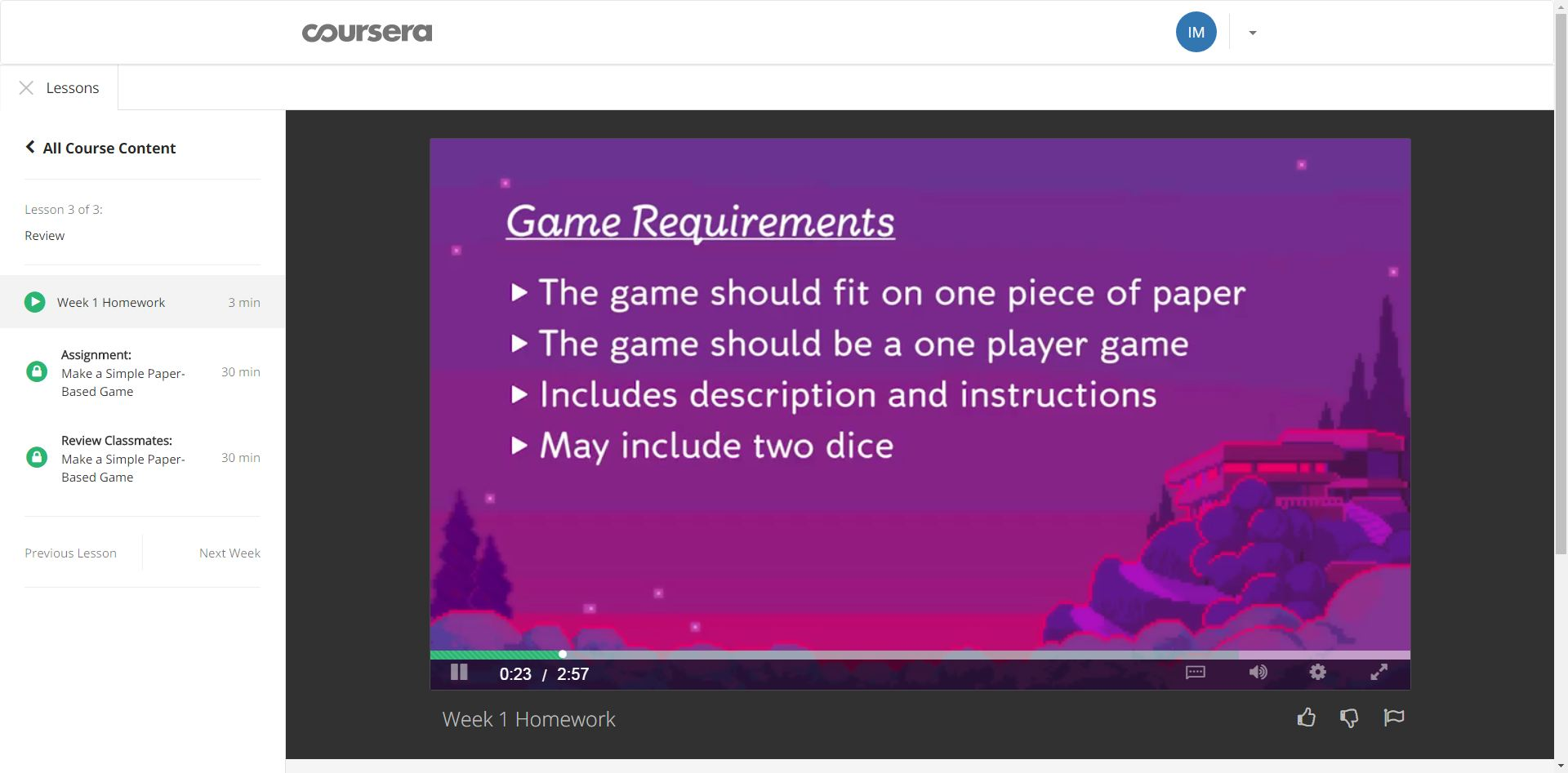 Introduction to Game Design 1